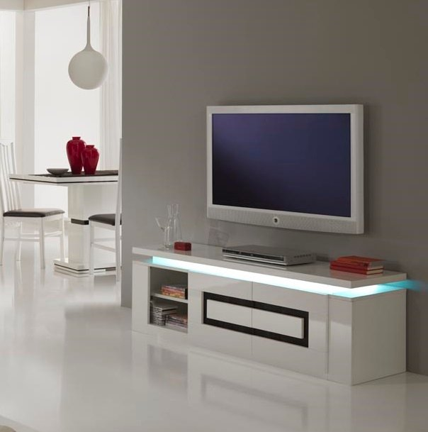 the white house bathrooms garde tv stand in white gloss and black with lights 20790 20790