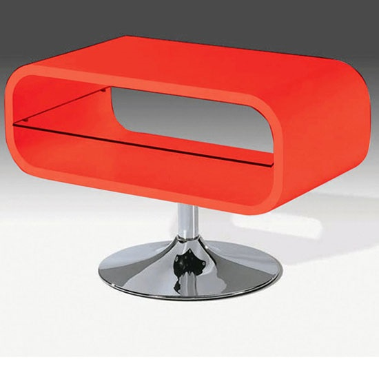 Radius LCD TV Stand In Red Gloss With Clear Glass Undershelf