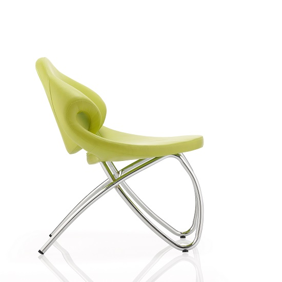 Garner Visitor Office Chair In Green Bonded Leather_2