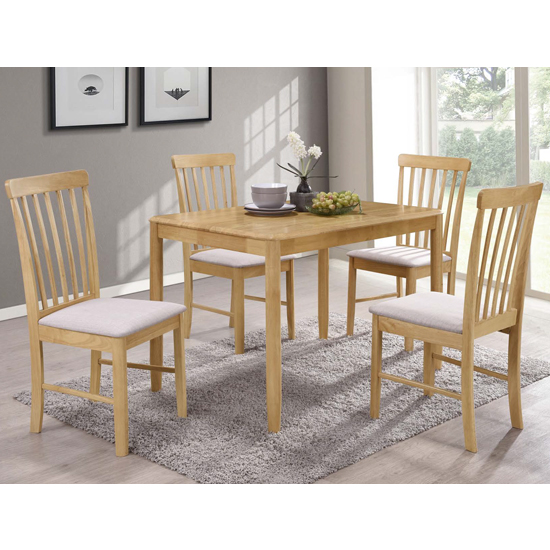 Garnet Fixed Wooden Dining Set With 4 Chairs_1