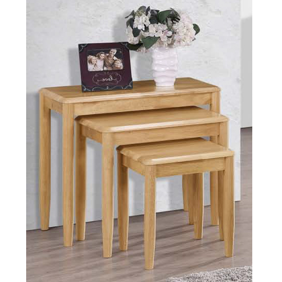 Garnet Set Of 3 Nesting Tables In Light Oak