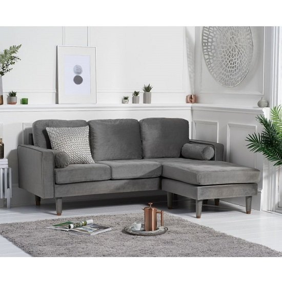 Garren Reversible Three Seater Chaise Sofa In Grey Velvet