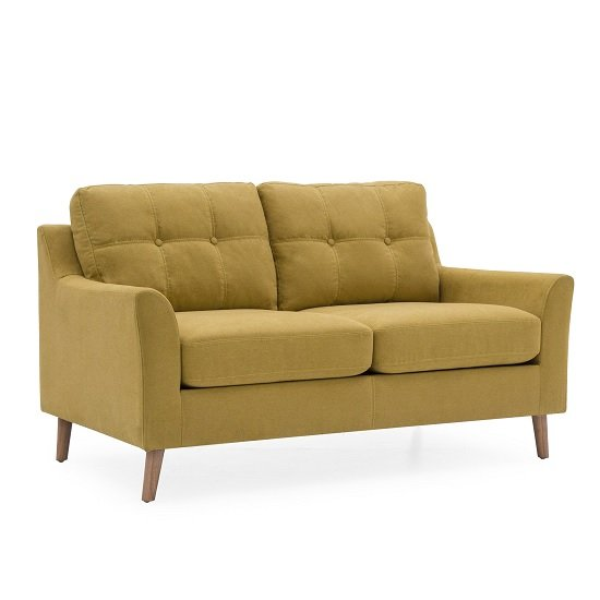 Garrick Fabric 2 Seater Sofa In Citrus With Wooden Legs_1