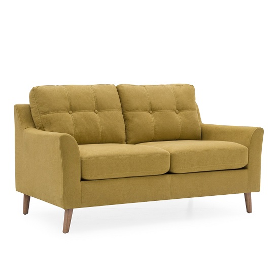 Garrick Fabric 2 Seater Sofa In Citrus With Wooden Legs_2