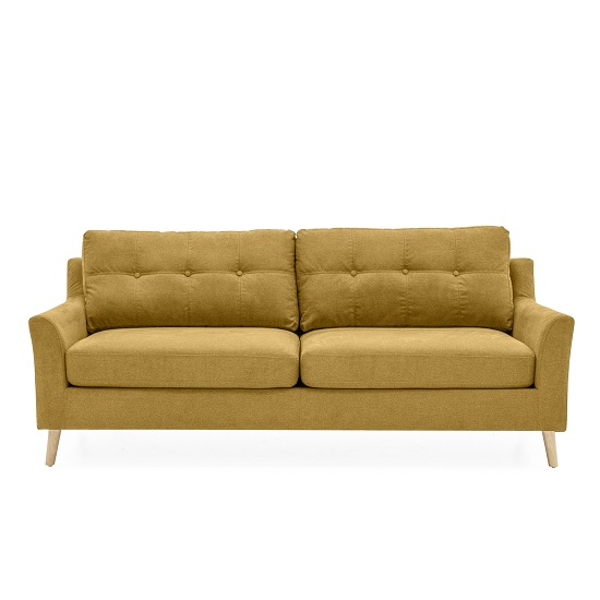 Garrick Fabric 3 Seater Sofa In Citrus With Wooden Legs_2