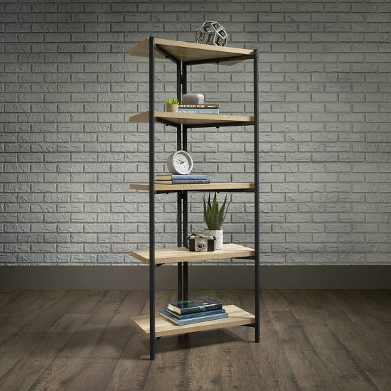 Garrick Bookcase Or Shelving Unit In Charter Oak And Metal Frame