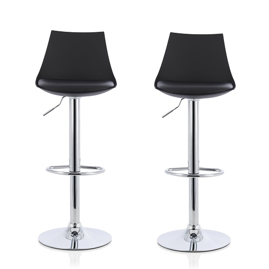 Garry Bar Stools In Black Faux Leather Seat Pad In A Pair