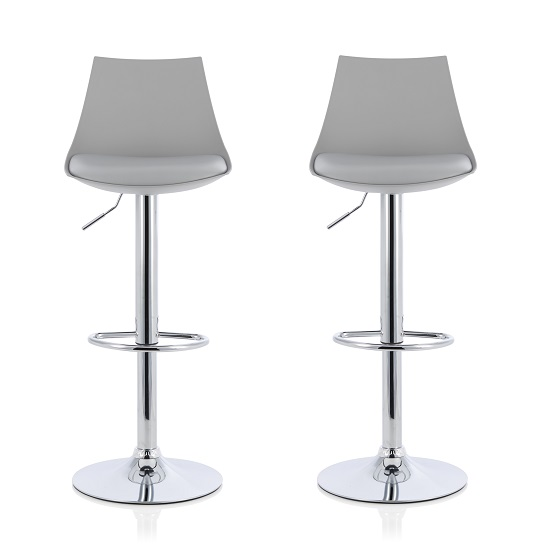 Garry Bar Stools In Grey Faux Leather Seat Pad In A Pair