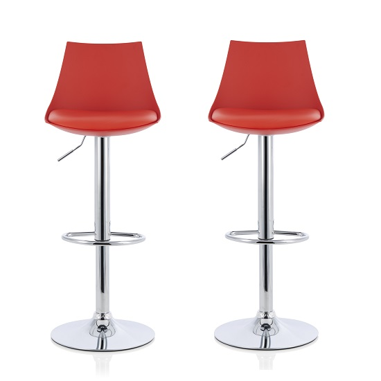 Garry Bar Stools In Red Faux Leather Seat Pad In A Pair