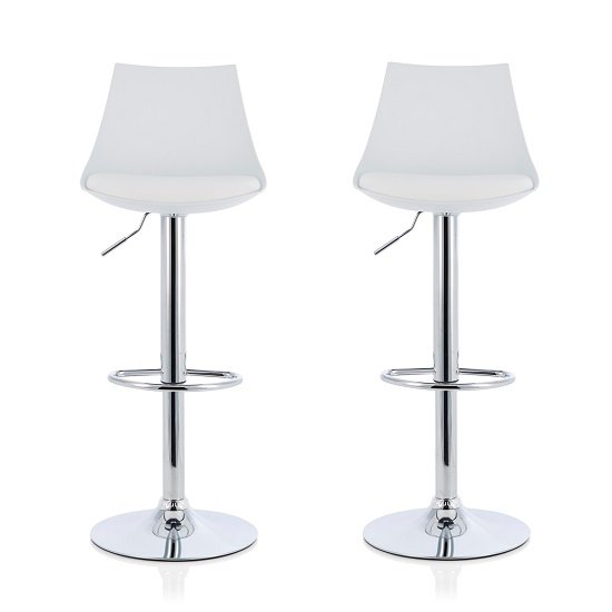 Garry Bar Stools In White Faux Leather Seat Pad In A Pair