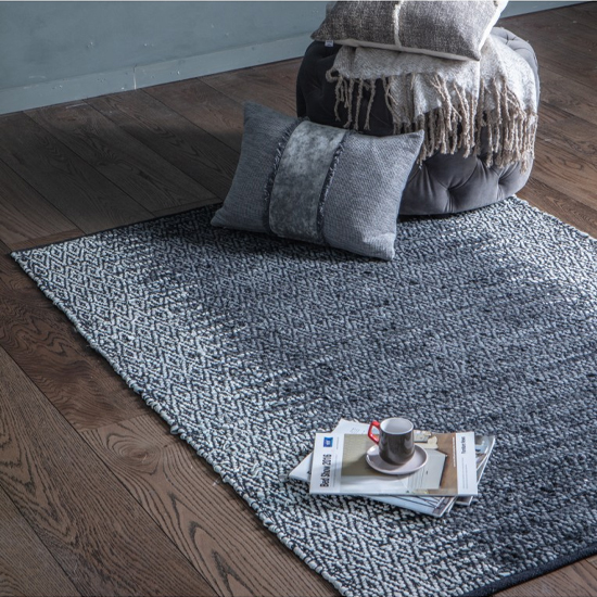 Gartia Cotton Fabric And Leather Rug In Grey