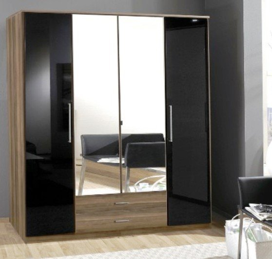 Gastineau Wardrobes 2 Drawer 4 Doors 2 Mirrors Walnut