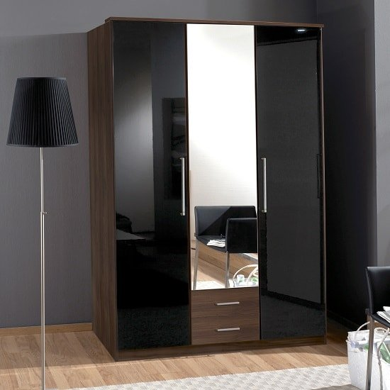 Gastineau 2 Drawers Mirrored Wardrobe In Columbia Walnut Black