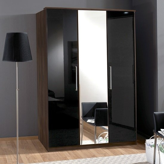Gastineau Mirrored Wardrobe In Columbia Walnut Black With 3 Door