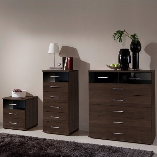 Gastineau Bedside Cabinet In Columbia Walnut And Black_2