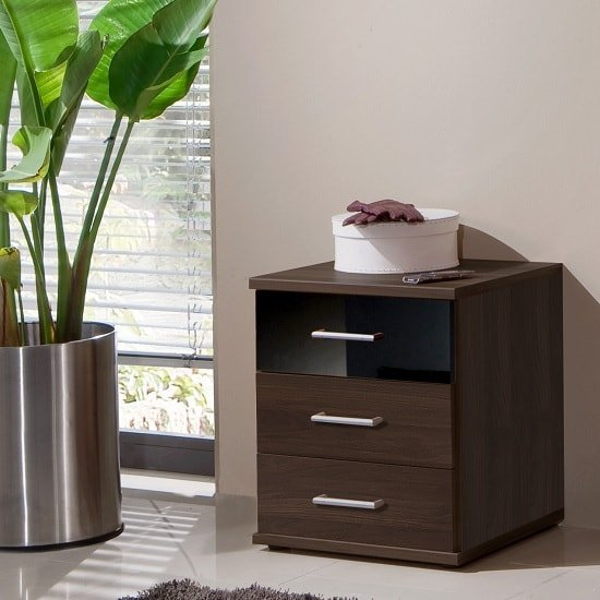 Gastineau Bedside Cabinet In Columbia Walnut And Black_1