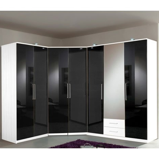 Gastineau Corner Wardrobe In Alpine White With Black Gloss Front_1