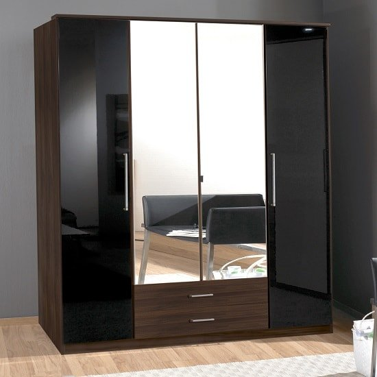 Gastineau Large Mirrored Wardrobe In Columbia Walnut And Black