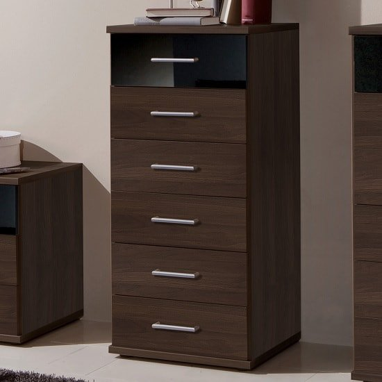 Gastineau Chest Of Drawers Tall In Columbia Walnut And Black