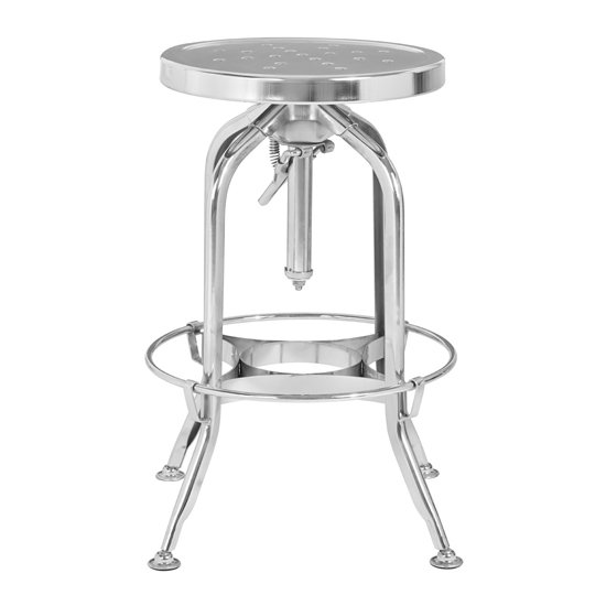 Gator Adjustable Metal Bar Stool In Silver