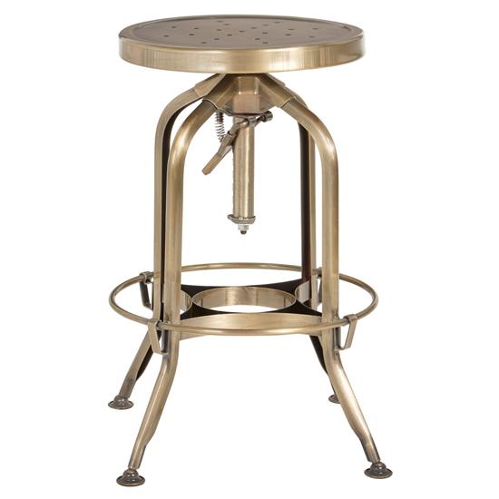View Dofida adjustable steel industrial style stool in brass