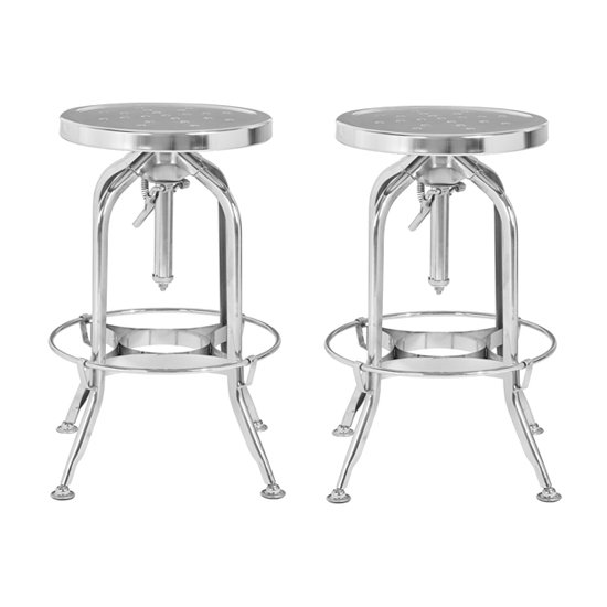 Dofida Silver Adjustable Metal Bar Stools In Pair