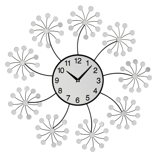 Gatosta Mirrored Floret Wall Clock In Black And Silver