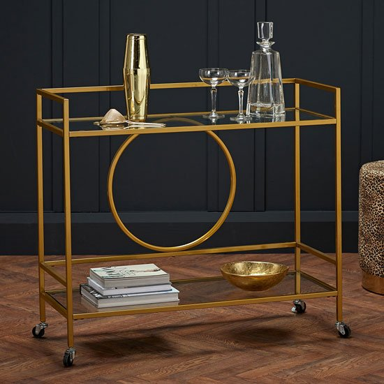 Gatsby Glass Shelves Drinks Trolley With Gold Frame