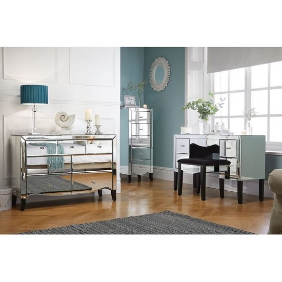 Gatsby Mirrored Rectangular Dressing Table With 4 Drawers_3