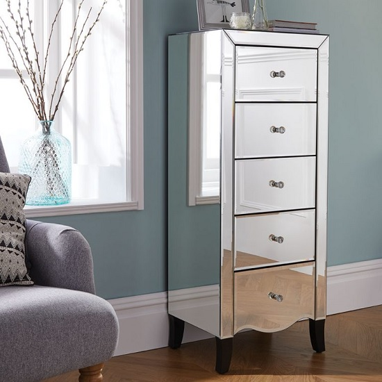 Gatsby Mirrored Narrow Chest Of Drawers With 5 Drawers
