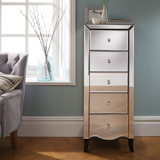Gatsby Mirrored Narrow Chest Of Drawers With 5 Drawers_2