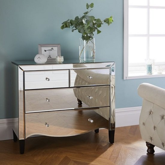 Gatsby Mirrored Chest Of Drawers With 4 Drawers