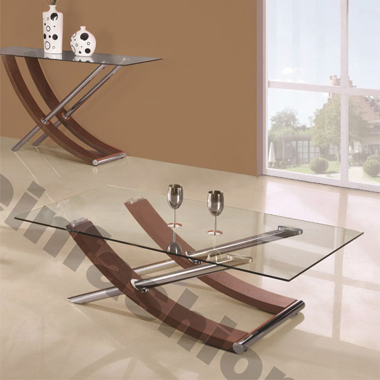 Walnut And Chrome Coffee Table: Gemini Clear Glass Top Coffee Table In Walnut And Chrome