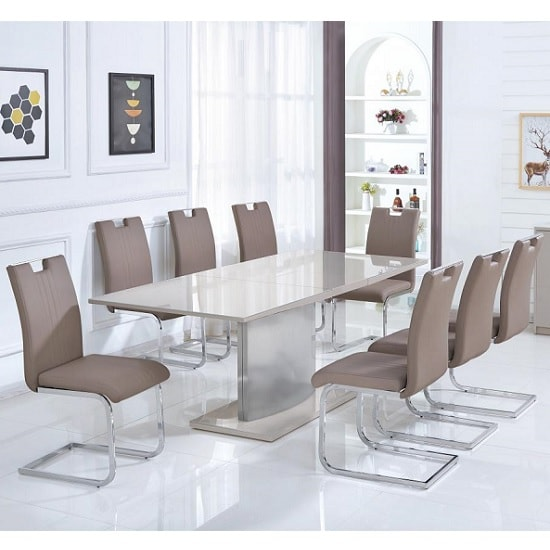 Gemma Glass Extendable Dining Set In Gloss Champagne 6 Chairs