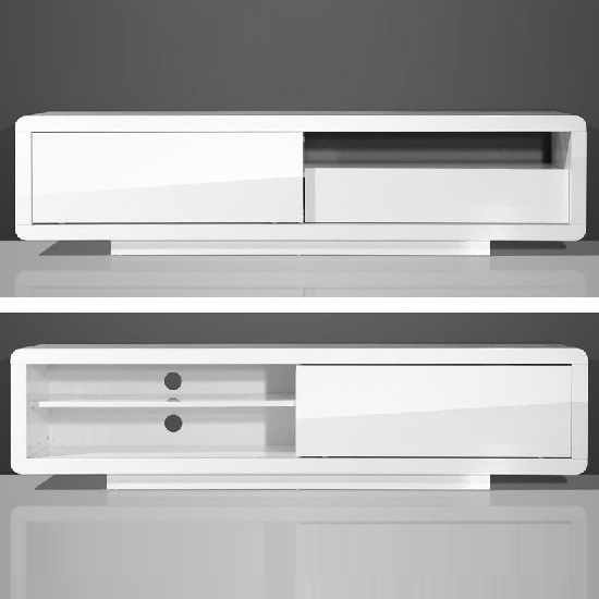 Genesis Plasma TV Stand In White High Gloss With Sliding Door_2