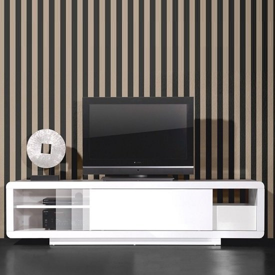 Genesis Plasma TV Stand In White High Gloss With Sliding Door_3