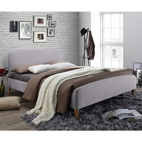 Geneva Fabric King Size Bed In Light Grey With Oak Wooden Legs