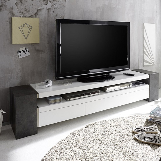 Mozart TV Stand In Matt White And Concrete With 3 Drawers