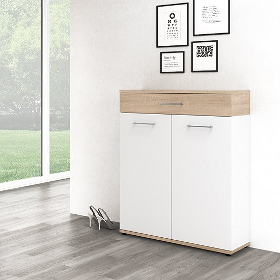 Geneva Modern Shoe Storage Cabinet In Sonoma Oak And White