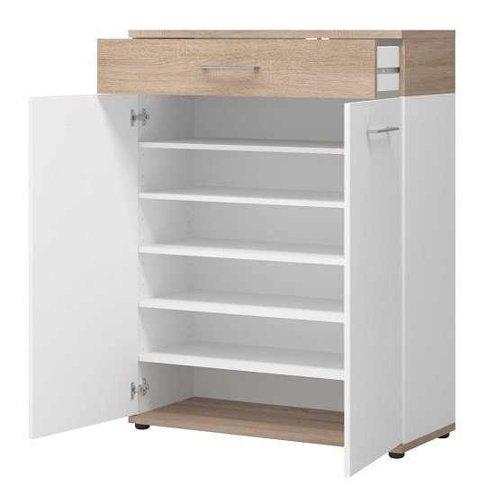 modern shoe cabinet geneva modern shoe storage cabinet in sonoma oak and white 23569