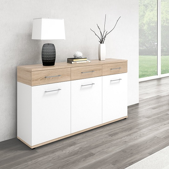 Geneva Modern Wooden Sideboard In Sonoma Oak And White