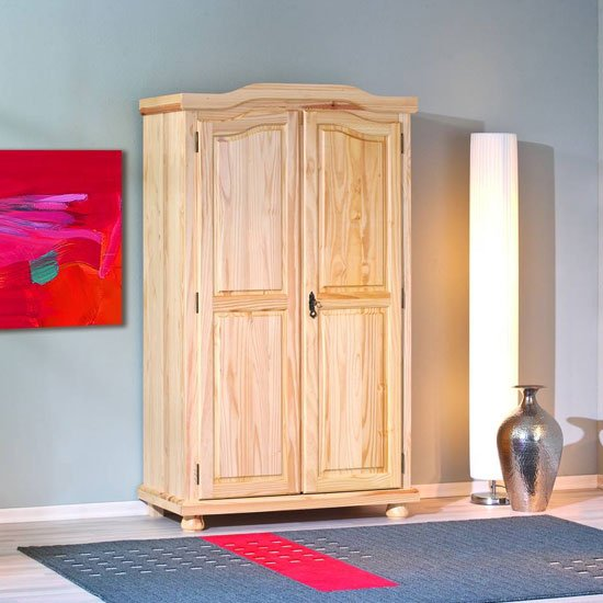 Genf Wooden Wardrobe In Solid Pine Natural With 2 Doors