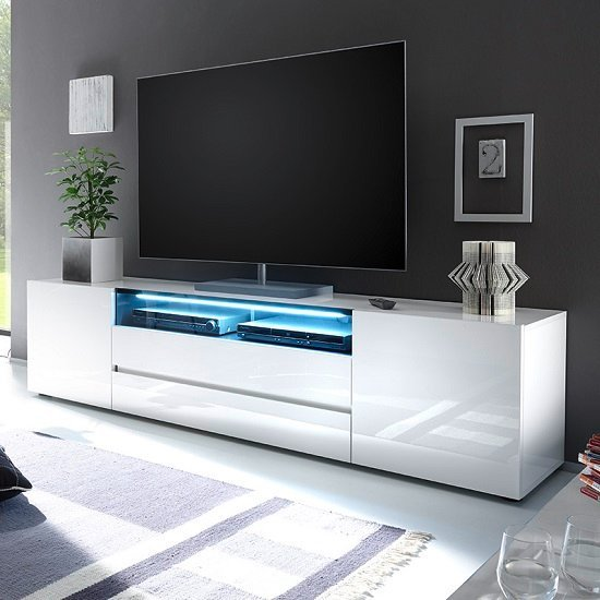 Genie Wide TV Stand In High Gloss White With LED Lighting_1
