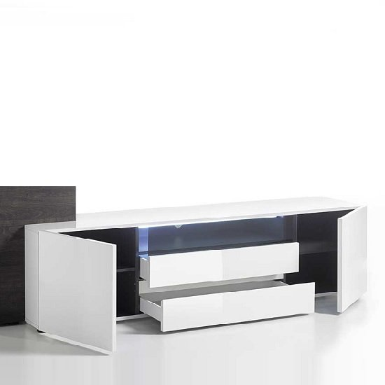 Genie Wide TV Stand In High Gloss White With LED Lighting_2