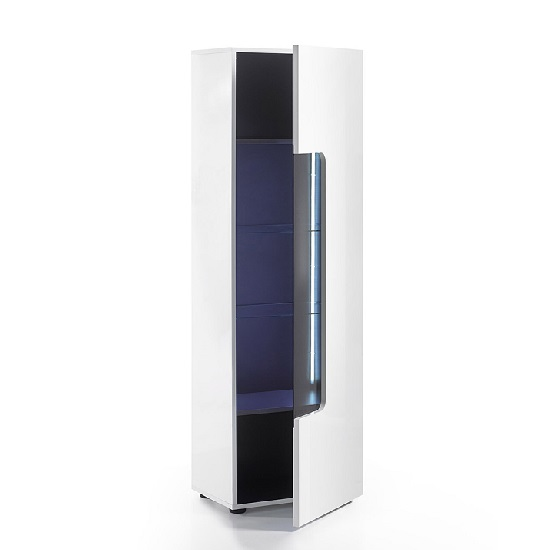 Genie Display Cabinet In White High Gloss With LED Lighting_3