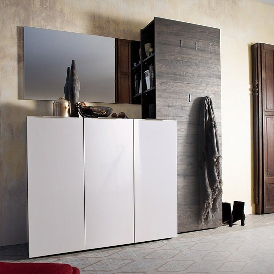 Genie Hallway Furniture Set 4 In White High Gloss And Wenge_1