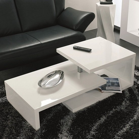 Geno Coffee Table In White High Gloss With Rotation