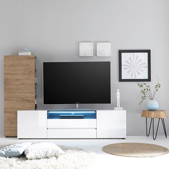 Genie TV Stand In High Gloss White With 2 Drawers And LED_4