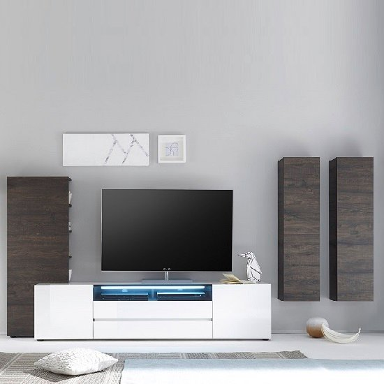 Genie Wide TV Stand In High Gloss White With LED Lighting_5