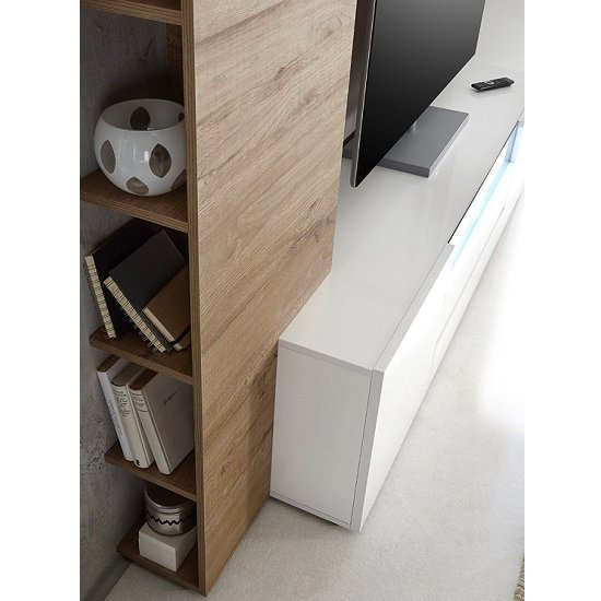 Genie Living Room Set 1 in White High Gloss And Oak With LED_3